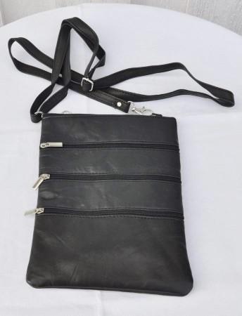 Mobilveske i skinn, regulerbar hank, svart